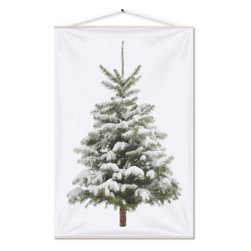 Kerstboom op Doek Sneeuw