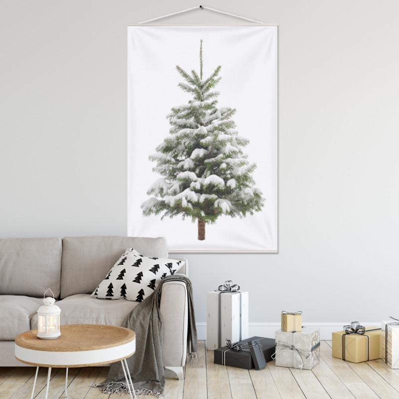 Kerstboom op Doek Sneeuw 100x150 cm