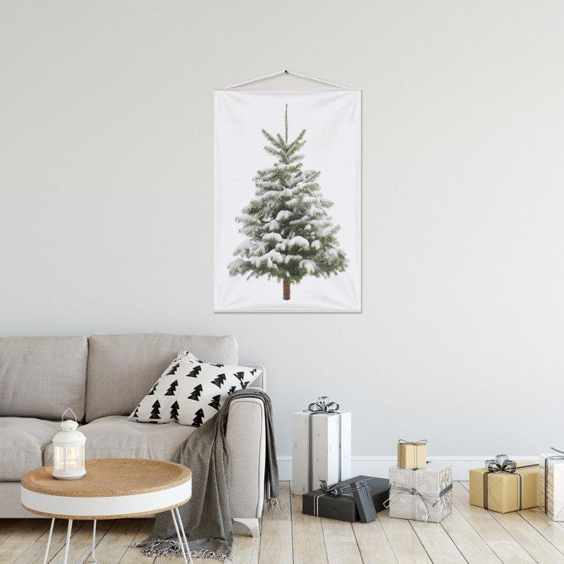 Kerstboom op Doek Sneeuw 60 x 90 cm