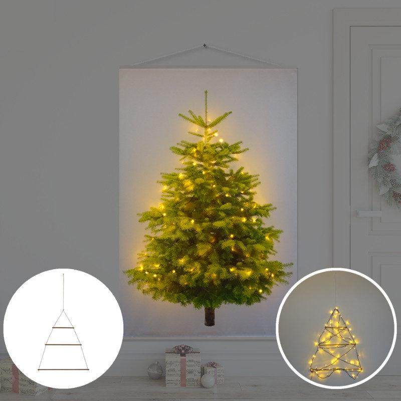 Kerstboom op Doek met lichtjes - Kerstboom op Doek Groen 100 x 150 cm