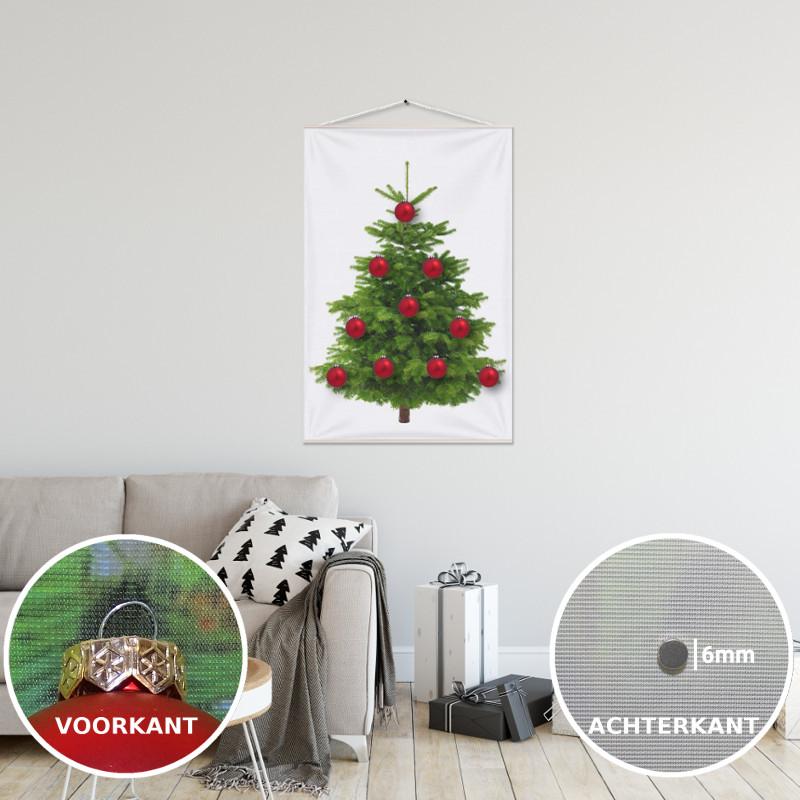 Kerstboom op Doek Groen 70x100 cm met 10 Kerstballen bevestigd met 10 magneetjes