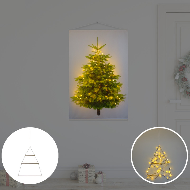 Kerstboom op Doek met lichtjes - Kerstboom op Doek Groen 70 x 100 cm