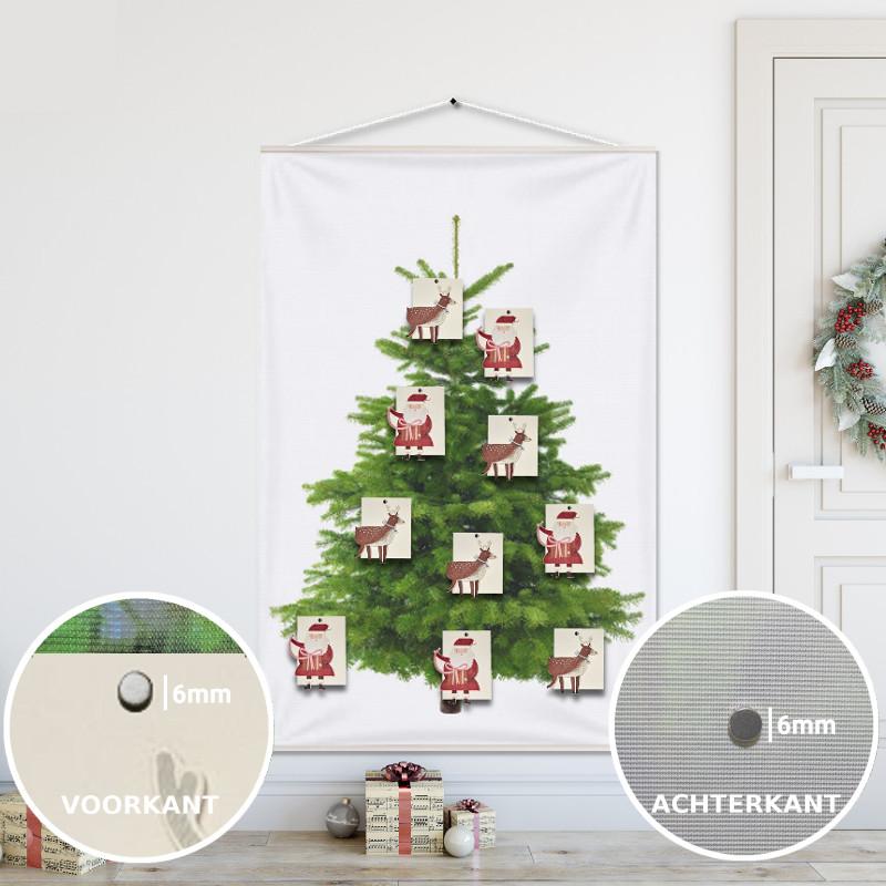 Kerstboom op Doek Groen 100x150 cm met 10 Kerstkaarten (hema) bevestigd met 20 magneetjes