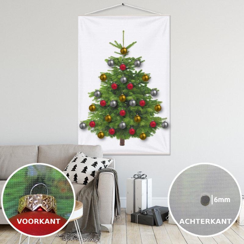 Kerstboom op Doek Groen 100x150 cm met 30 Kerstballen bevestigd met 30 magneetjes