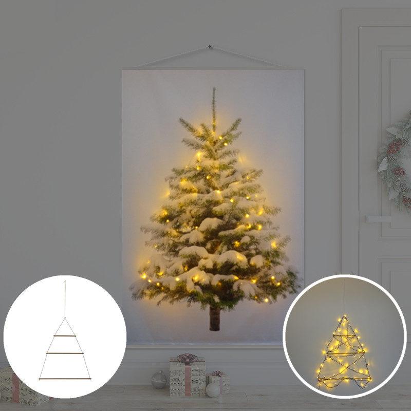Kerstboom op Doek met lichtjes - Kerstboom op Doek Sneeuw 100 x 150 cm