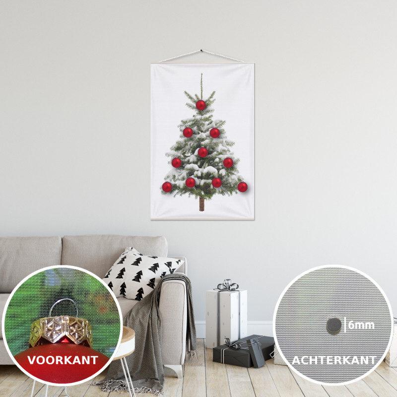 Kerstboom op Doek Sneeuw 60 x 90 cm met 10 Kerstballen bevestigd met 10 magneetjes