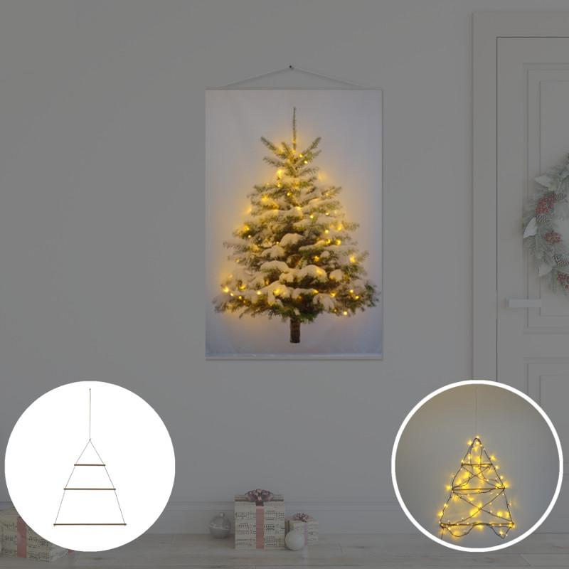 Kerstboom op Doek met lichtjes - Kerstboom op Doek Sneeuw 60 x 90 cm