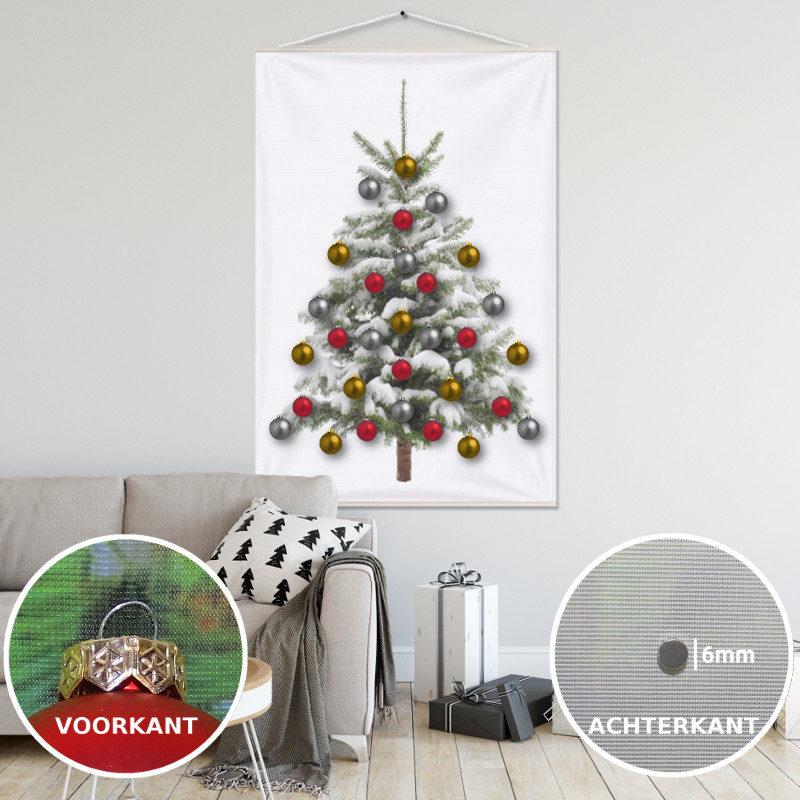 Kerstboom op Doek Sneeuw met 30 Kerstballen bevestigd met 30 magneetjes