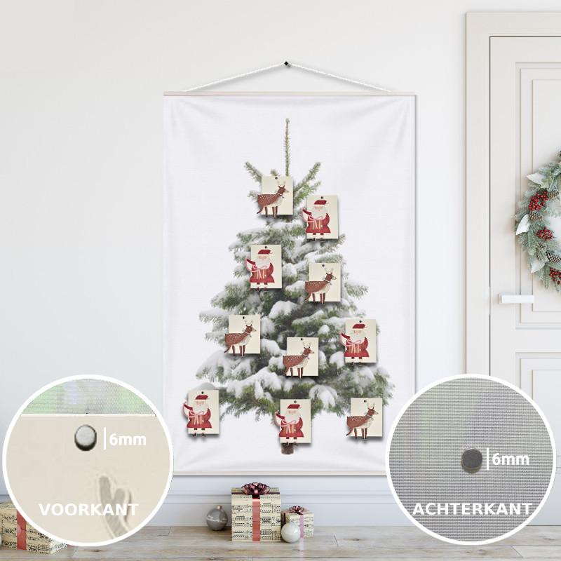 Kerstboom op Doek Sneeuw 100x150 cm met 10 Kerstkaarten (hema) bevestigd met 20 magneetjes